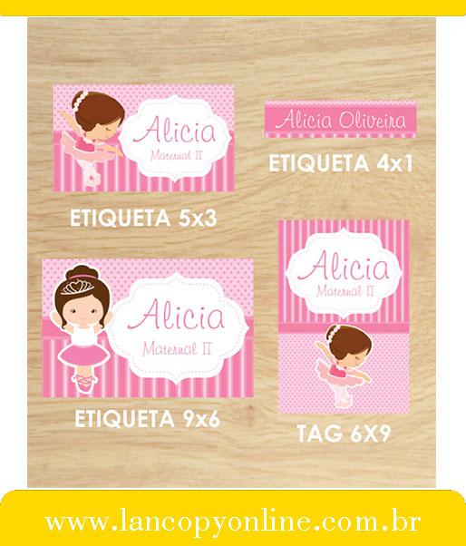 Kit De Etiquetas Escolares Bailarina Lancopy Boaventura