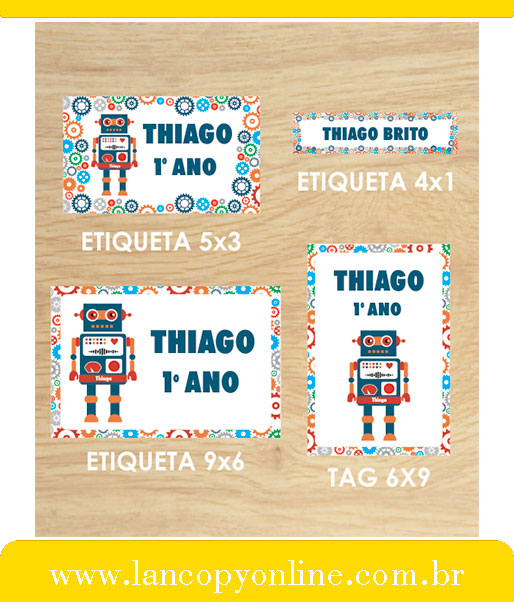 Kit De Etiquetas Escolares Robo Lancopy Boaventura